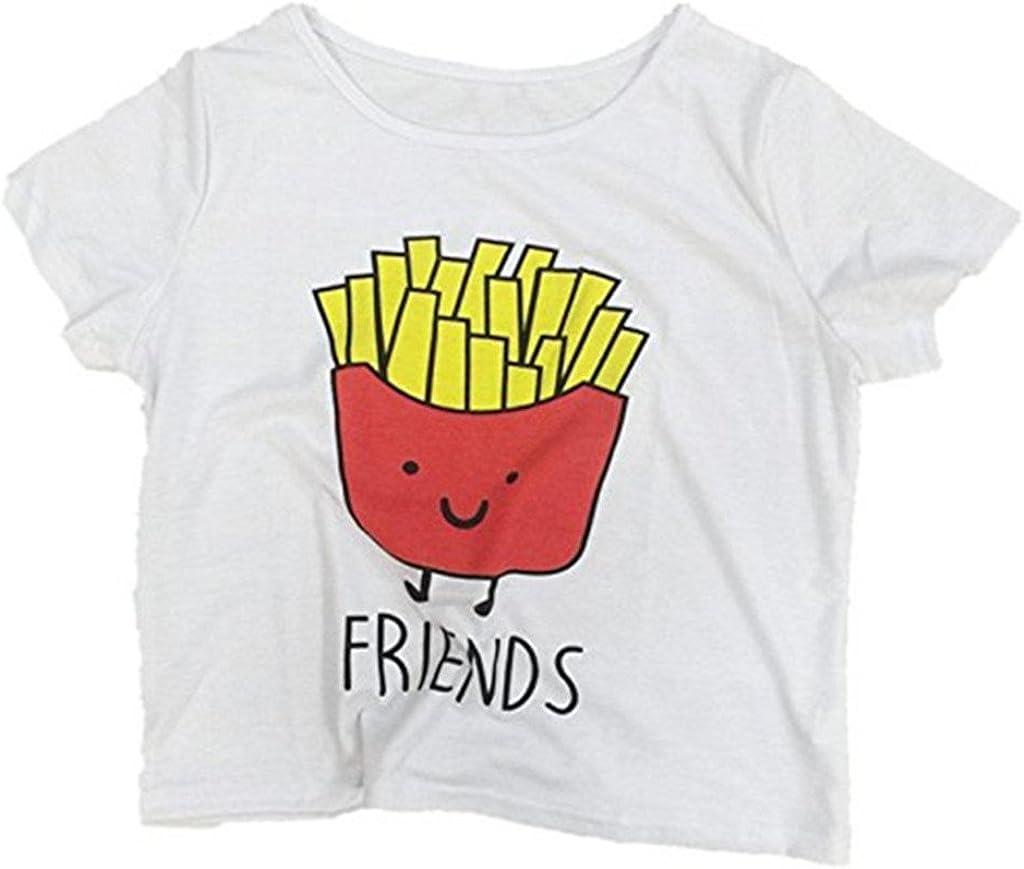 MOLFROA 2-Pack Womens Casual Cute Cartoon Best Friend Printed Crop Tops Funny Tops Tees