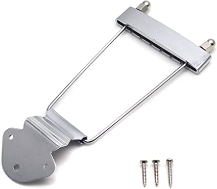 FarBoat 6 String Guitar Trapeze Tailpiece Bridge with Mounting Screws Replacement Part for Jazz Archtop Guitar Silver