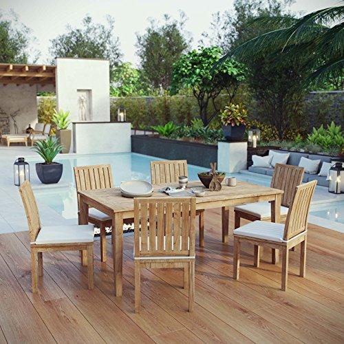Modway Marina Premium Grade A Teak Wood 7 Piece Patio Teak Outdoor Dining Set in Natural White