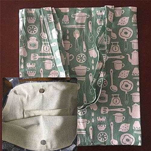 Yile cotone lino Eco shopping Tote borsa a tracolla stampa Kitchen Ware Green BASEL06