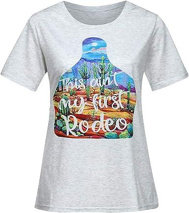 Qingsiy Camisetas Mujer Manga Corta Camisetas Mujer Verano Blusa Mujer Sport Tops con Estampado Mujer Verano Camisetas Sin Manga Mujer Camisetas Rojas Mujer Top: Amazon.es: Ropa y accesorios