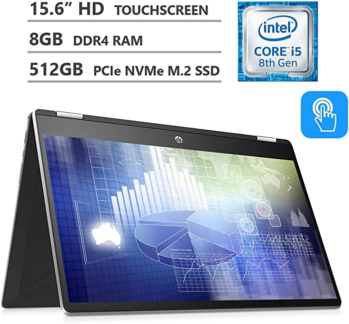 2019 Newest HP Pavilion x360 2-in-1 15.6 HD SVA Touchscreen Laptop, Intel Core i5-8265U up to 3.90GHz, 8GB RAM, 512GB PCIe NVMe M.2 SSD, HDMI, Wireless-AC, Bluetooth 4.2, Windows 10, 2 Year Warranty