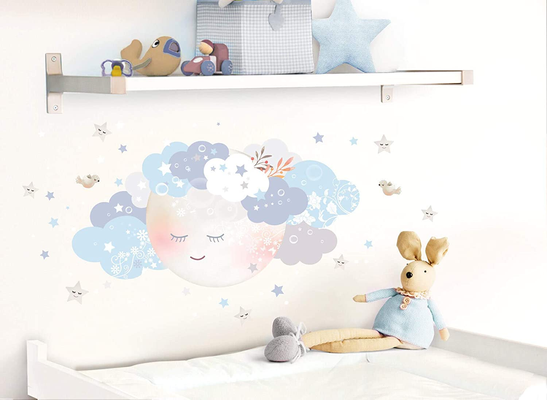 Wandaro Little Deco DL244 Sticker Mural d/écoratif pour Chambre denfant Motif Lune et Nuages II