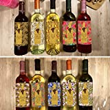 """Hatinkaart - Wine Bottle Labels - 10 Pack - Set of 10 Different Design Stickers- 3.93"""" x 4.72"""""""