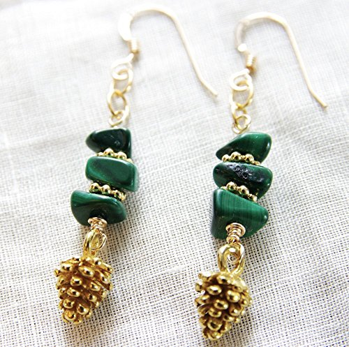 Pine Cone Earrings 14kt Gold Filled Green Malachite Gemstone Dangle