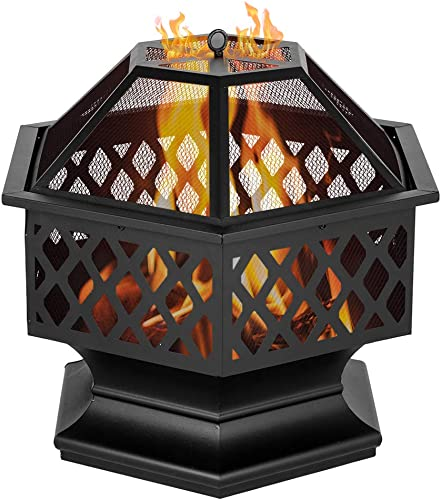 LxHealthy 24″ Hexagonal Shaped Iron Brazier Wood Burning Fire Pit Decoration