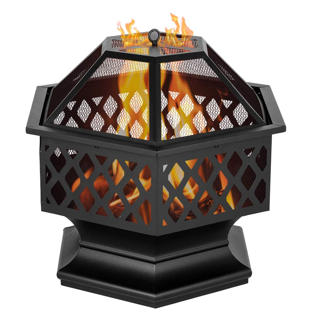"HomeK 24"" Hexagonal Shaped Firepit Iron Brazier Wood Burning Fire Pit Firewood Patio Heater Backyard Patio Garden Stove Decoration Accent for Patio, Backyard, Poolside"