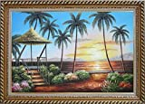 Framed Oil Painting 24''x36'' Hawaii Straw Patio Sunset Palm Tree Beach Reflection Seascape America Naturalism Stylish Frame