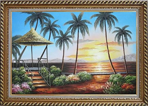 Framed Oil Painting 24''x36'' Hawaii Straw Patio Sunset Palm Tree Beach Reflection Seascape America Naturalism Stylish Frame by BeyondDream