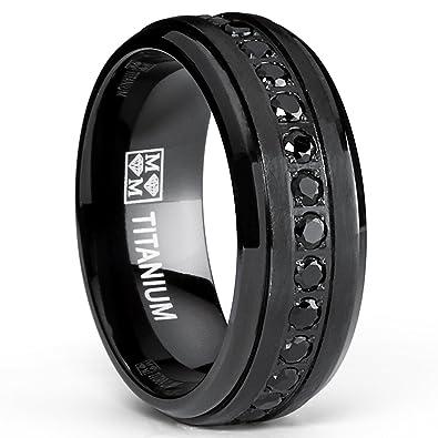mens stealth black titanium wedding band ring with black cubic zirconia cz