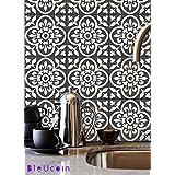 Encaustic Moroccan Kitchen Bathroom Tile Stickers, Stair riser Vinyl Decal, Peel & Stick DIY Home decor , Pack of 44 (10cm x 10cm (Pack of 44))