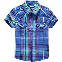 Boys Stripes Splice Button Down Shirts Turn-Down Collar Short Sleeve Cotton Tops