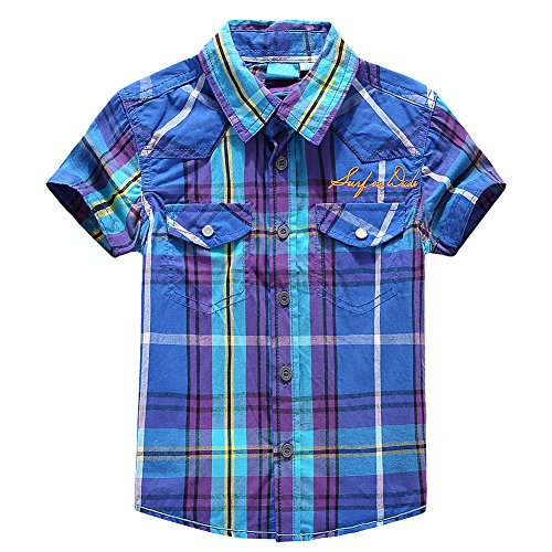 Snowdreams Boys Plaid Button Down Shirts Embroidery Print Shirt Collar Short Sleeve Tops Size 4