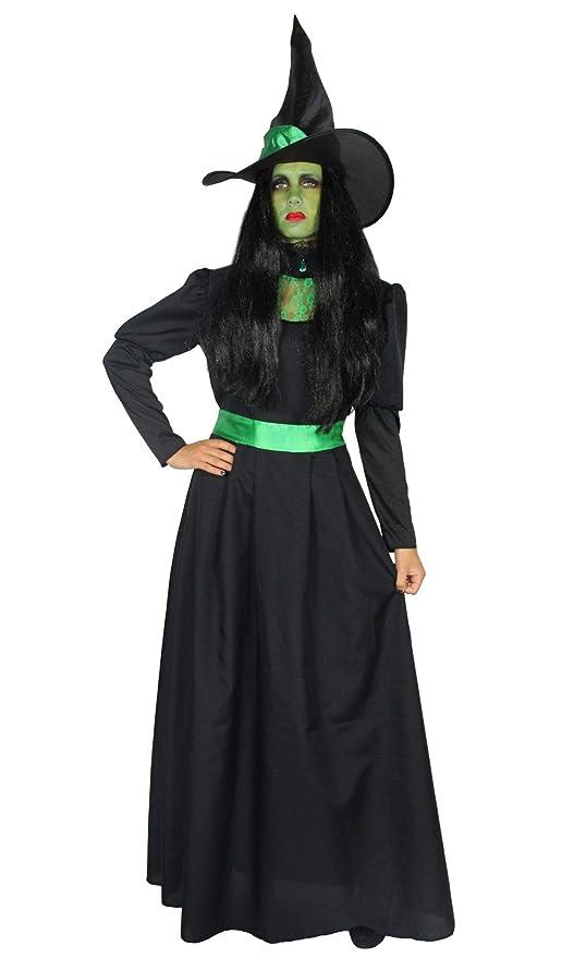 Foxxeo 40286 I Deluxe Traje de Bruja Verde Largo Noble Negro con Sombrero Damas Brujas Vestido de Bruja Carnaval Halloween Talla S - XXL, Talla:M