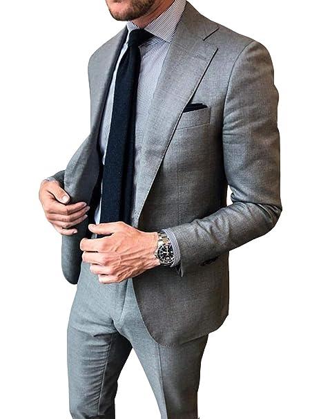 Amazon.com: CALVINSUIT Traje de hombre 2 piezas chaqueta y ...