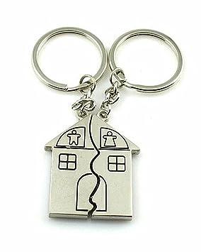 PanpA 1 par de llaveros con forma de casa para pareja (plata ...