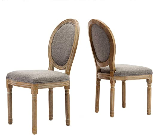 Farmhouse Dining Room Chairs, French Distressed Bedroom Chairs with Round  Back, Elegant Tufted Kitchen Chairs, Set of 2, Gray