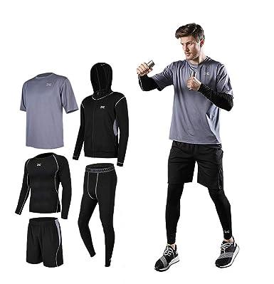 ce1dd525adcaa ランニングウェア タイツ メンズ ジョギング 夏薄手速乾 四点セット スポーツウェア (M