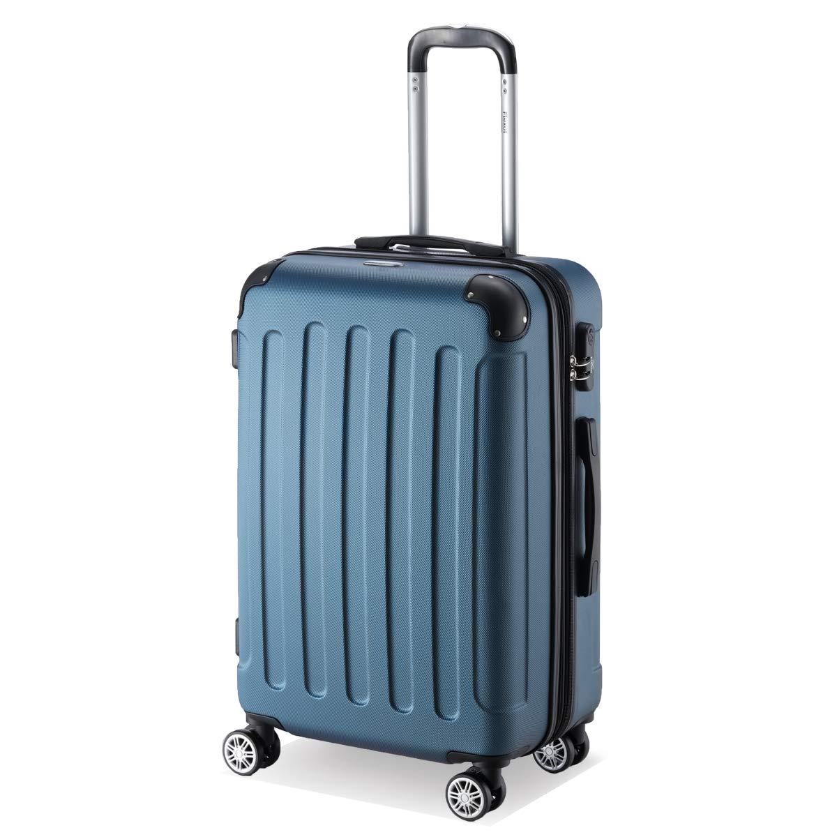 Flexot 2045 3er Reisekoffer Set Farbe Blau Gr/ö/ße M L XL Hartschalen-Koffer Trolley Rollkoffer Reisekoffer 4 Rollen