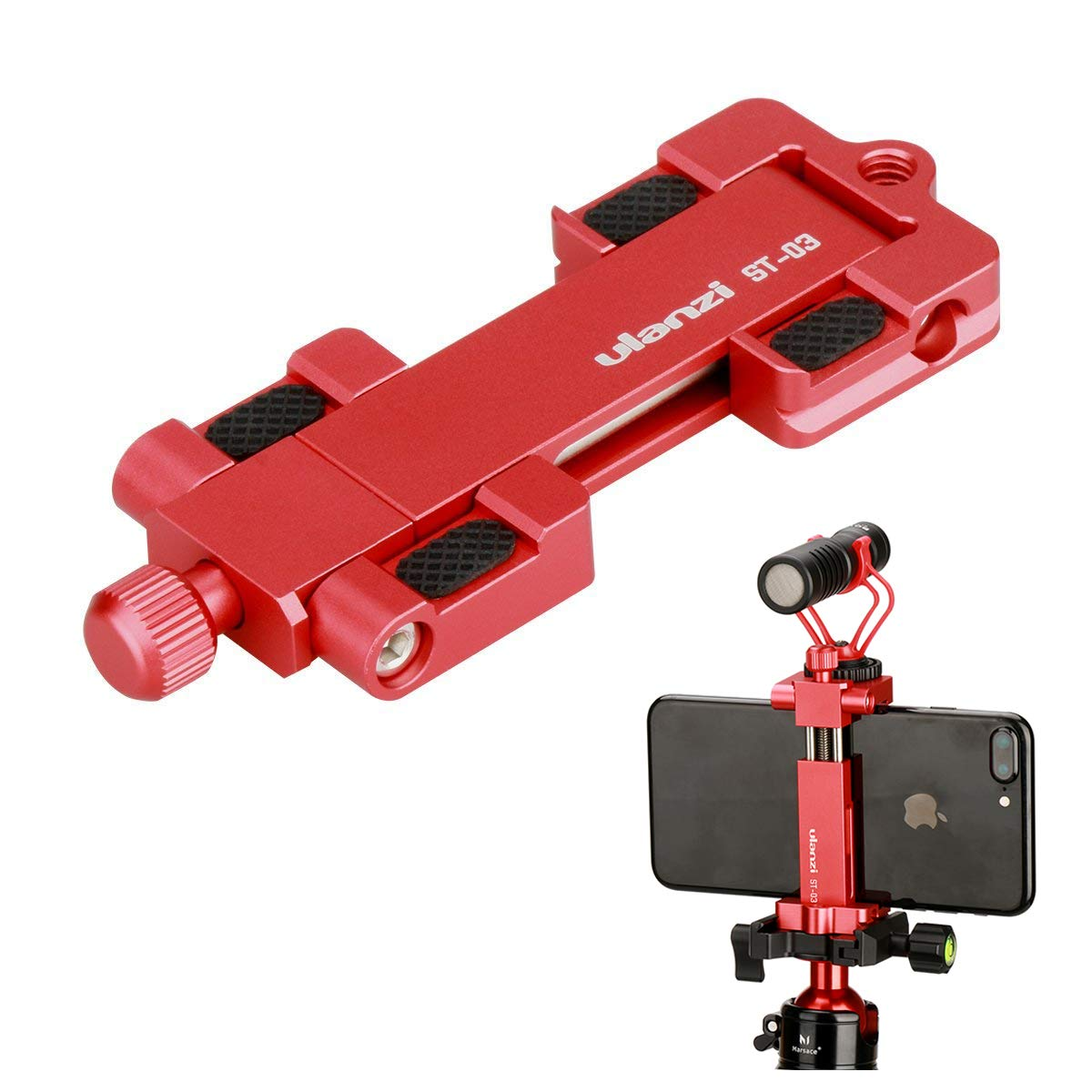 Ulanzi ST-03 Metal Smart Phone Tripod Mount with Cold Shoe Mount and Arca-Style Quick Release Plate for iPhone Xs X 8 7 Plus Samsung Huawei,Cell Phone Tripod Holder Clip Adapter (Red) by ULANZI