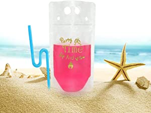 Stand Up Zipper Bags – Clear Juice Pouches with 50 Straws – Drink Pouches Bags – Reusable Juice Pouches – Hot or Cold Drinks – 350ml and 500ml Plastic Drink Pouches – 50 Pcs Sets 1 Funnel included