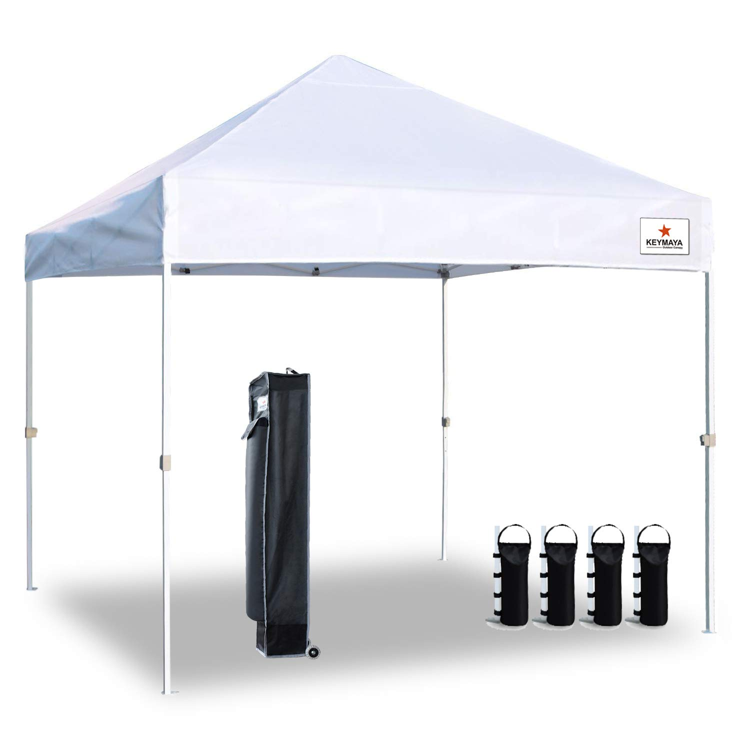 Keymaya 10'x10' Ez Commercial Instant Tent Heavy Duty Pop-up Canopy Shelter Bonus Weight Bag 4-pc Pack, 1# White