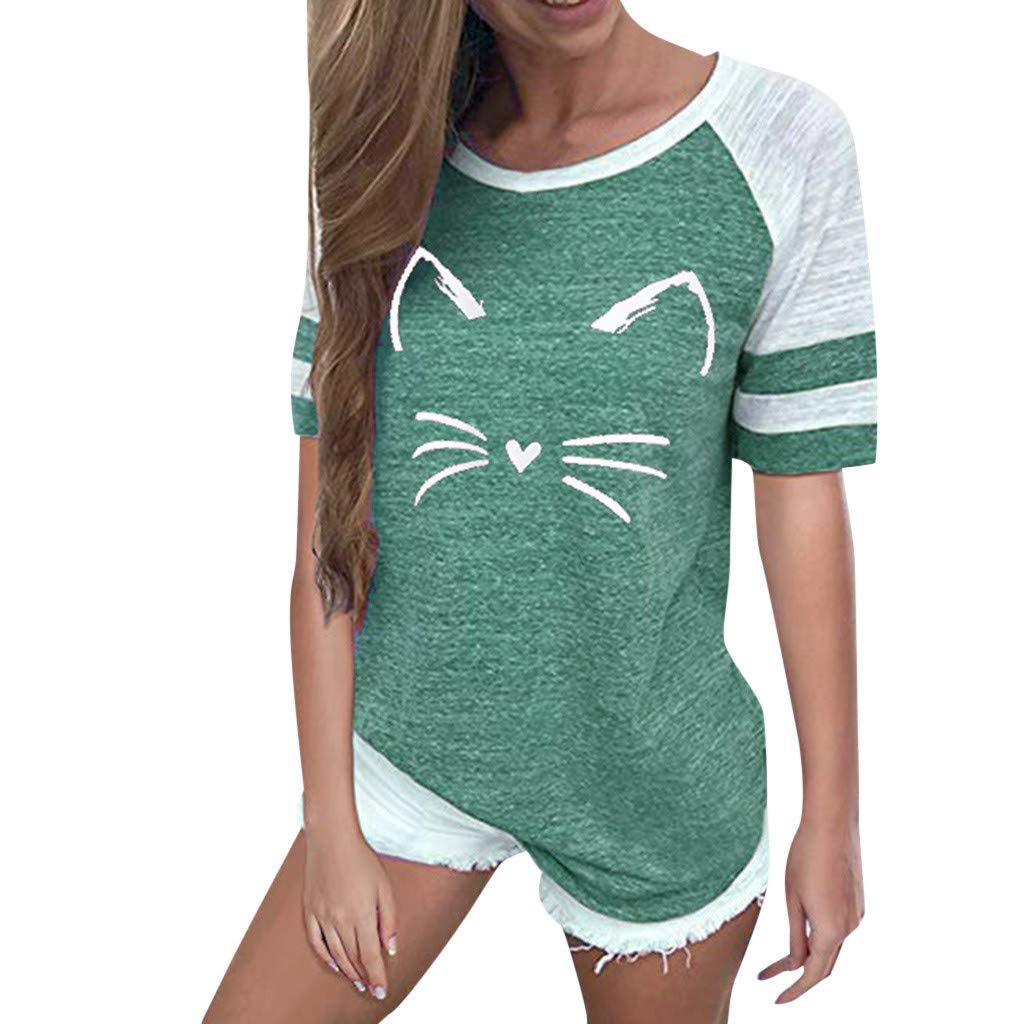 LIM&Shop Women Summer T-Shirt Cat Print Top Short Sleeves Crew Neck Loose Blouse Casual Tunic Striped Shirt Pullover Green by LIM&SHOP-Women Tops
