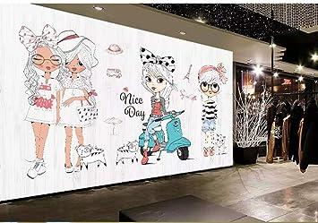 amazon com custom wallpaper mural lovely hand drawn cartoon girl