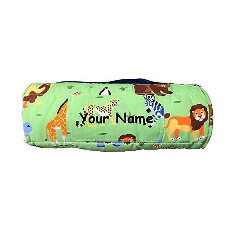 Personalized verde oliva niños animales salvajes alfombrilla de pan saco de dormir