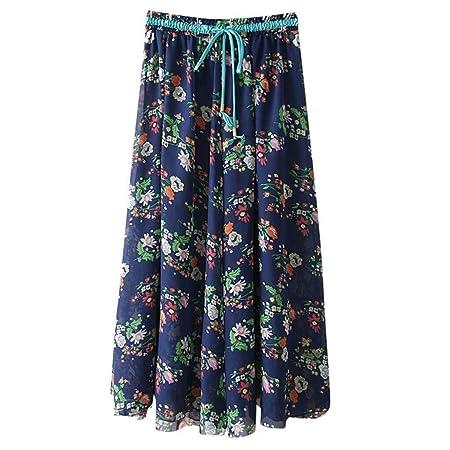 Go First Faldas Plisadas de Las Mujeres Falda de Cintura Alta Boho ...