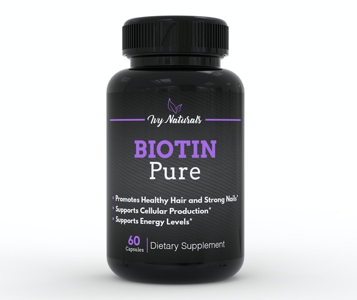Biotin by Ivy Naturals    60 Ct Pure and Powerful Biotin    Promotes Strong and Beautiful Hair    Strengthens Nails and Clears Skin    100% Satisfaction Guarantee
