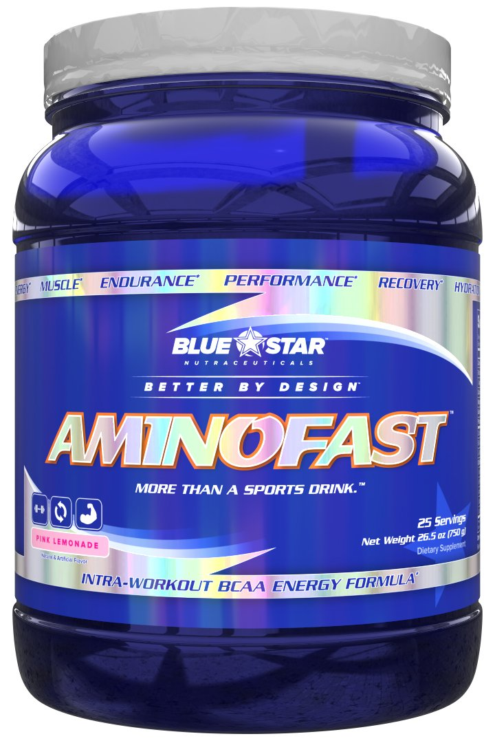 Blue Star Nutraceuticals Amino Fast - Performance, Muscle Recovery, Energy, and Endurance BCAA Powder (25 Servings) (Pink Lemonade)