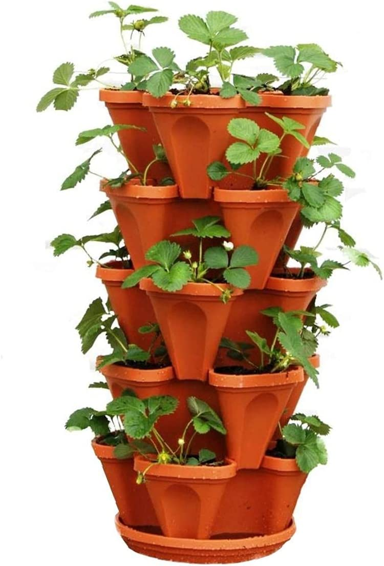 5-Tier Balcony Flower Pot Stackable Strawberry Planter Flower Tower Planter Indoor Outdoor Stacking Garden Pots for Growing Strawberries Herbs Flowers Vegetables and Succulents