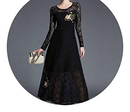 better-caress-Vintage Women Clothing Velvet Dress High-end Floral Heavy Embroidered 2018 Black Lace Long Vestido LongoK9496 at Amazon Womens Clothing store ...