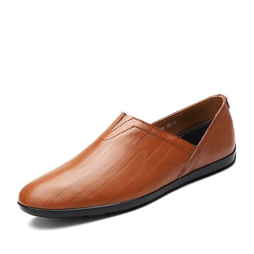 Shufang-Shoes, Mocasines de Papel para Hombre 43 EU|Red Brown
