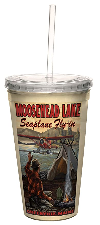 Lanquist Artful Traveler Double-Walled Cool Cup with Straw Tree-Free Greetings cc33168 Vintage Greenville Maine Moosehead Lake by Paul A 16-Ounce