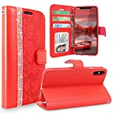 iPhone X Case, Cellularvilla iPhone X Wallet Case [ Diamond Jewel ] Card Holder Flower Premium PU Leather Wallet strap Case Flip [ Stand ] Protective Cover For Apple iPhone X 10 ( Red Bling )