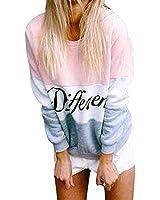 Felpa Donna Sweatshirt Elegante Stampare Pullover Manica Lunga Taglie Forti Rotondo Collo Colori Misti Casuale Moda Tops Sportiva Sweater Felpe Alunno S-Xxl