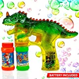 Toysery Dinosaur Bubble Shooter Gun Light Up Bubbles Blower with LED Flashing Lights