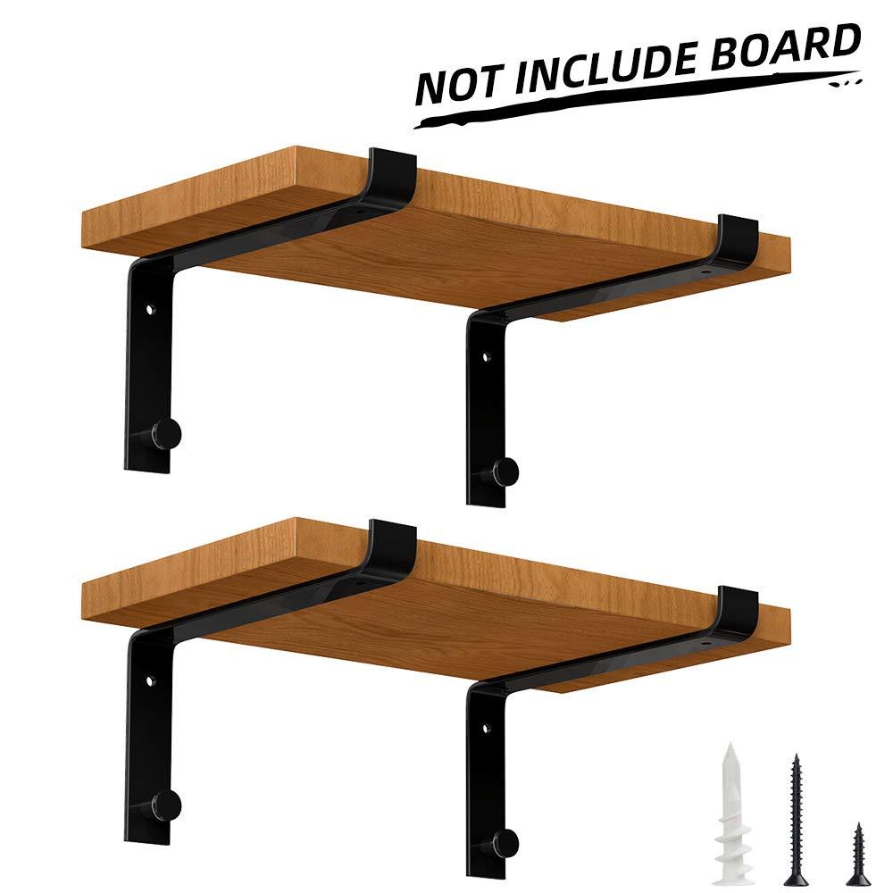 Specially Designed Metal Shelf Brackets 12 inch, Heavy Duty Floating Shelf Support Brackets, Modern Rustic Wall Shelf Brackets, Black (4 Pack)