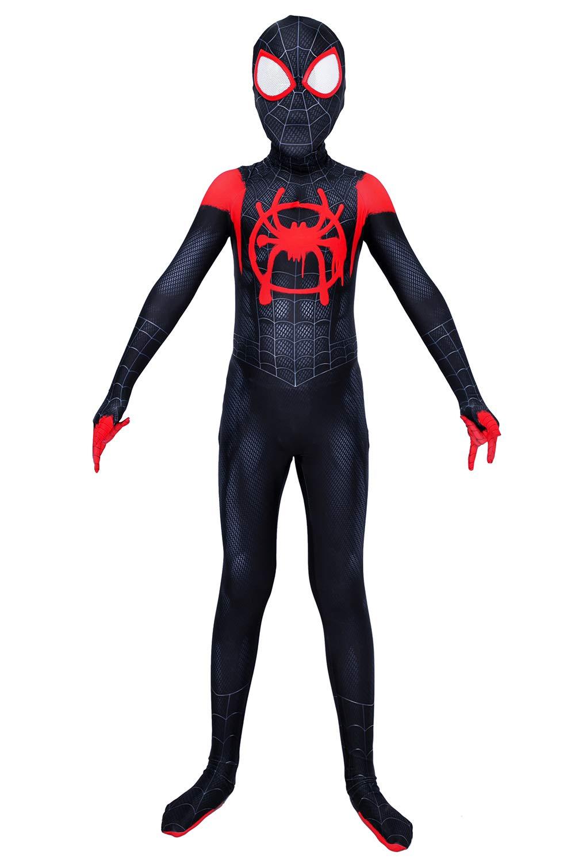 Piers Cosplay Superhero Dress Up Spandex Jumpsuit Zentai Miles Costume for Kids, M Black