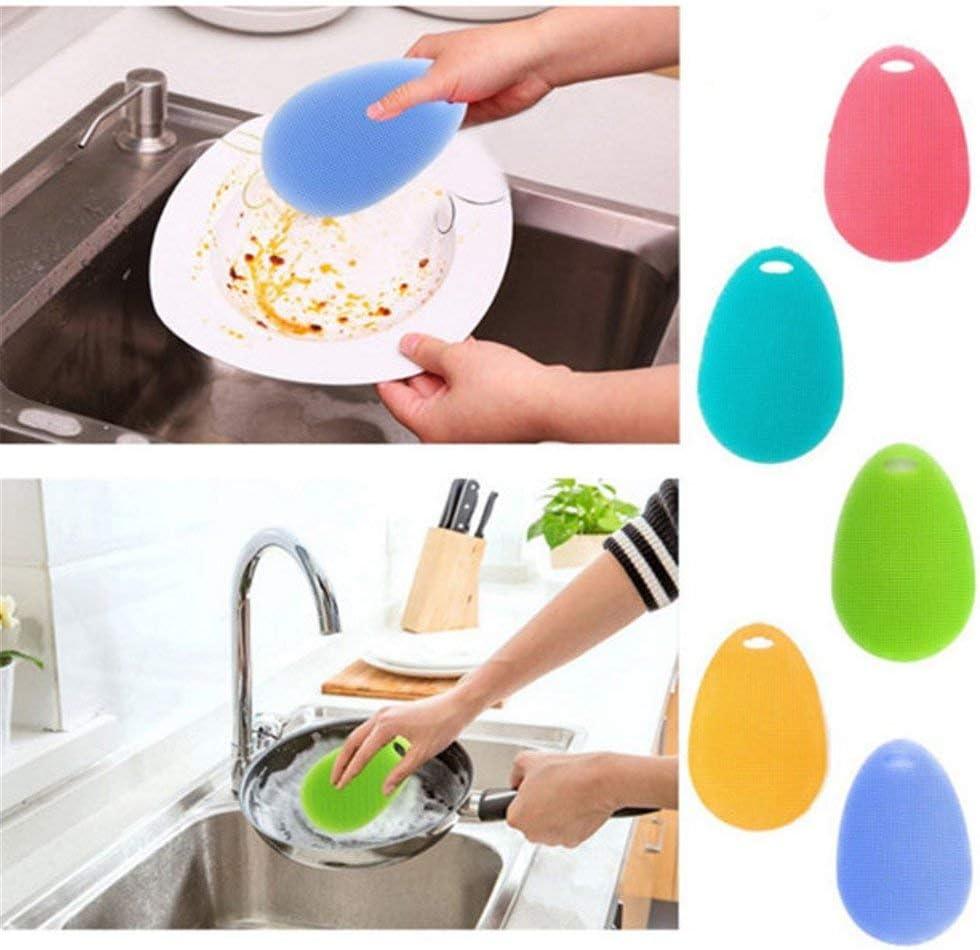 Ogquaton /Brosses de lavage en silicone multi-fonctions Tampon /à r/écurer environnemental pour casserole Bol /à vaisselle /éponge Outils de cuisine bleu clair Utile et pratique