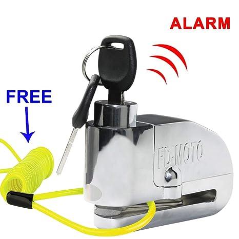 FD-MOTO - Dispositivos Antirrobo Candado de Disco con Alarma Antirrobo Acero 7mm 110DB Plata