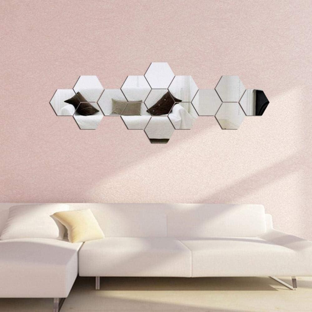 Etiqueta de la pared Pegatinas de pared hexagonales de acrílico y espejo estéreo 3D sofá de la sala de estar Fondo TV decorativo, espejo plateado, 6 lados sado_Ultra pequeño 36 piezas Distancia