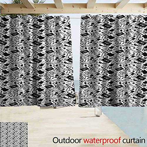 AndyTours Custom Curtain,Music Blues Jazz Punk Rock Various Type of Folk Indie Rap Reggae Peace Sign Sing Artwork,Darkening Thermal Insulated Blackout,W72x45L Inches,Black White -
