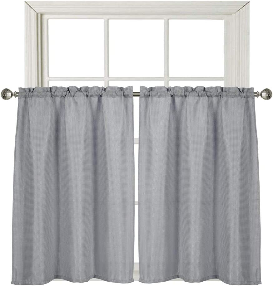 Home Queen Waffle Water Repellent Tier Curtains for Bathroom Window, Short Room Darkening Rod Pocket Kitchen Curtains, 2 Panels, 36 W X 45 L Inch Each, Solid Grey