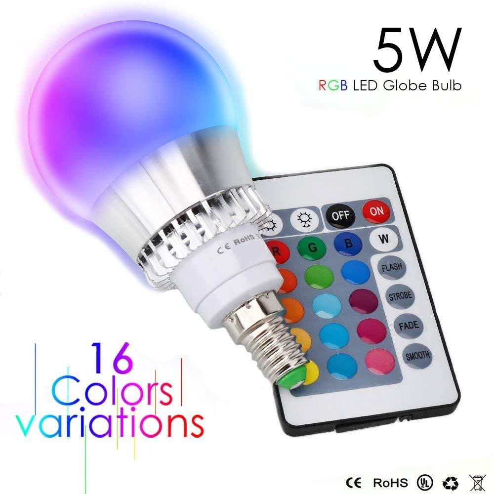 Esbaybulbs LED RGB Lampen 5W E14 Dimmbar Glü hbirne mit Fernbedienung Farbwechsel Birnen Party Leuchtmittel (2 Pack)