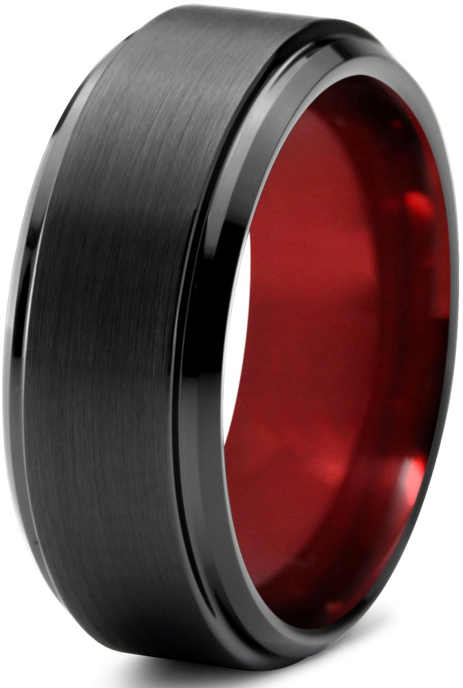 Chroma Color Collection Tungsten Wedding Band Ring 8mm for Men Women Red Black Beveled Edge Brushed Polished Size 11.5