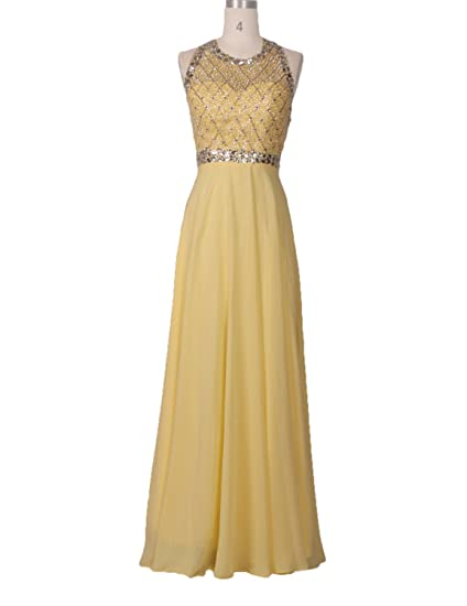 Stillluxury Backless Prom Dresses Beading Halter Evening Gowns for Women Formal Party Yellow Size 20