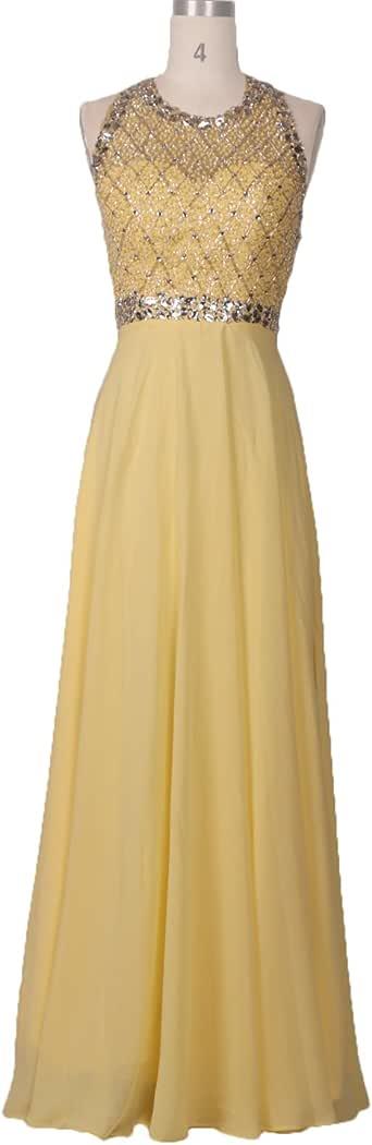 CIRCLEWLD Backless Prom Dresses Beading Halter Evening